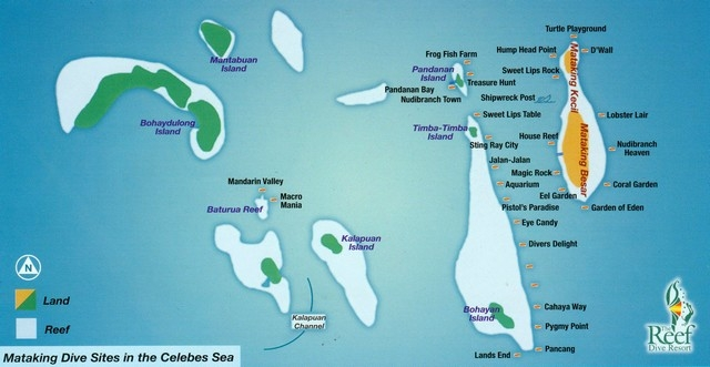 This a map of Pulau Mataking Island dive sites