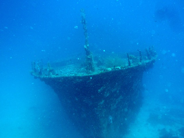 This is an underwater wreck wallpaper