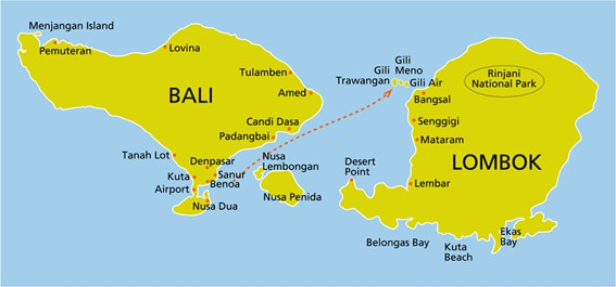 Gili islands lombok travel tips indonesia things to do map and gili islands map gumiabroncs Gallery