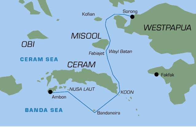 raja ampat liveaboard departure map
