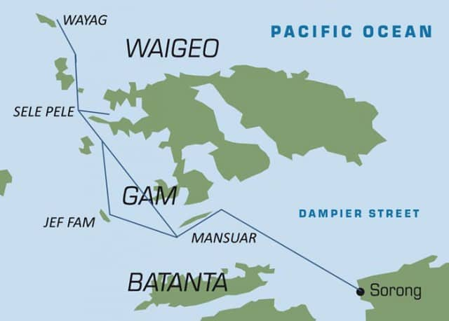 raja ampat liveaboard route from sorong, papua in indonesia