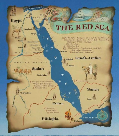 The Red Sea is apparently bordered by desert. Due to the extreme heat and very minimal annual rainfall, its water is warm and salty.