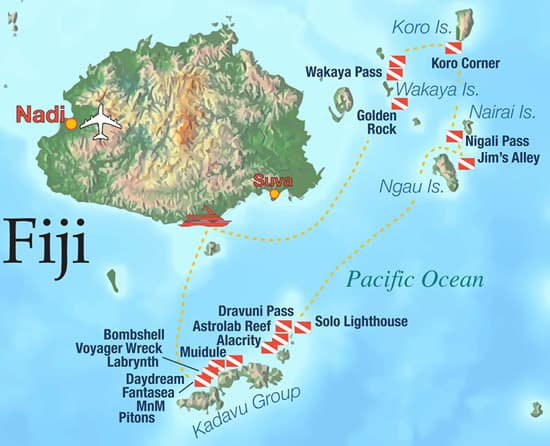 fiji aggressor liveaboard itinerary map