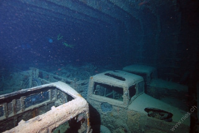 Diving the SS Thistlegorm is like taking you back to the World War II days. War artifact such as these trucks can be seen inside the wreck.