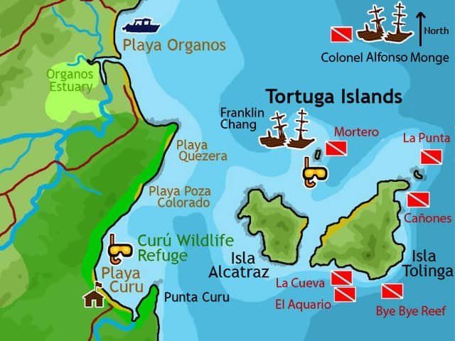 tortuga islands map in costa rica diving