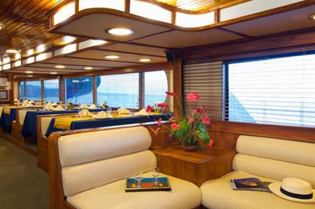 mv galapagos aggressor III dining area liveaboard review