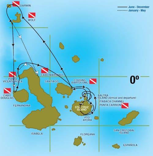 mv galapagos aggressor III itinerary map liveaboard review