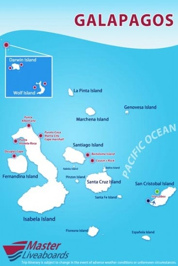 mv galapagos route map liveaboard review