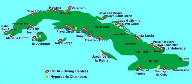 cuba liveaboard diving map