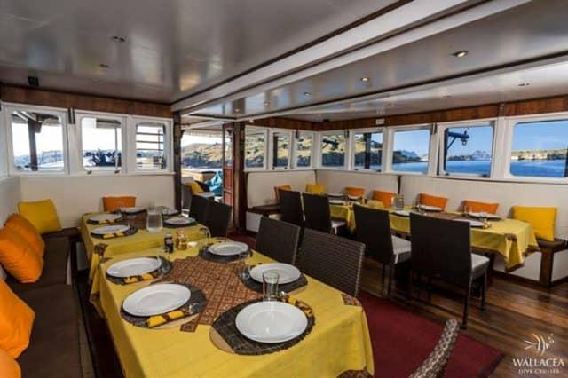mv ambai dining area liveaboard review