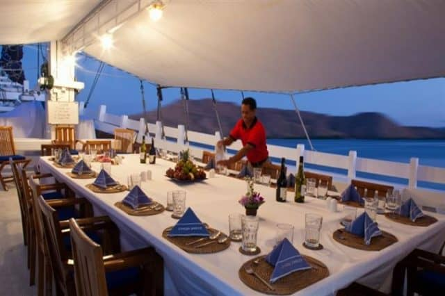 mv indo aggressor outdoor dining liveaboard review