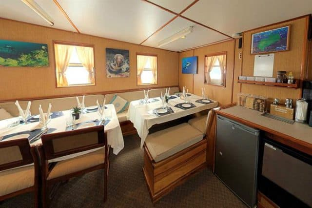 mv undersea hunter dining area liveaboard review