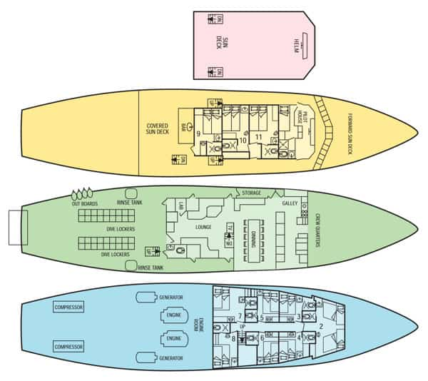 deck plan okeanos aggressor liveaboard costa rica diving