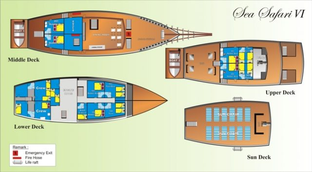 deck plan sea safari 6 liveaboard diving indonesia raja ampat