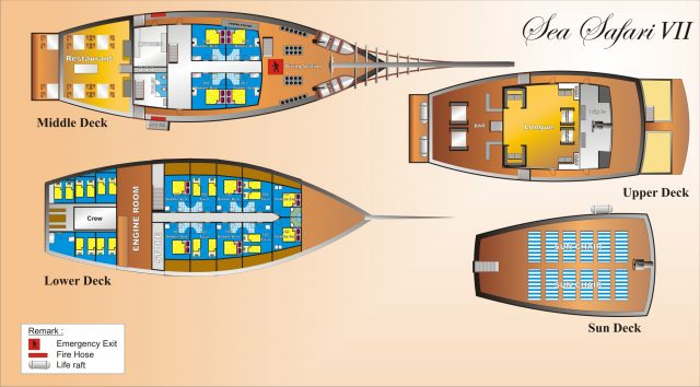 sea safari VII liveaboard diving indonesia deck plan