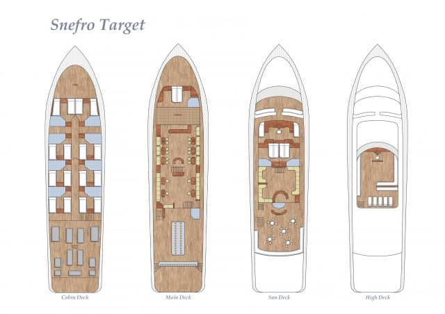 deck plan of the snefro target liveaboard diving red sea