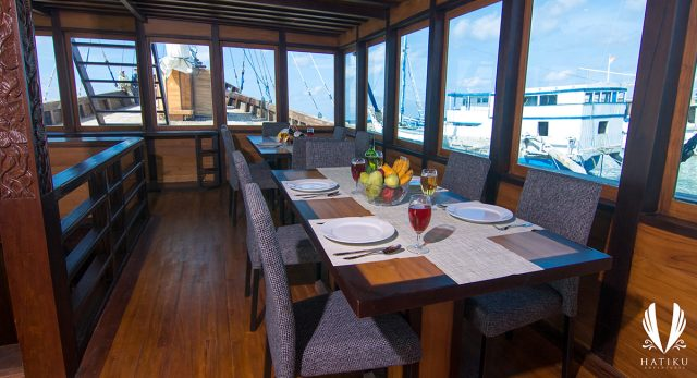 indoor dining hatiku liveaboard indonesia raja ampat komodo diving