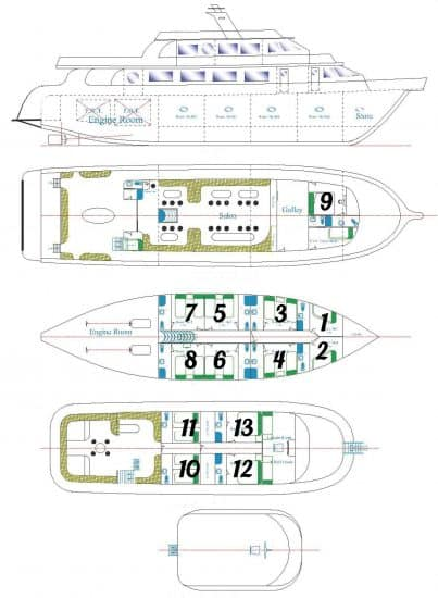 deck plan lighthouse miracle 1 liveaboard scuba diving red sea