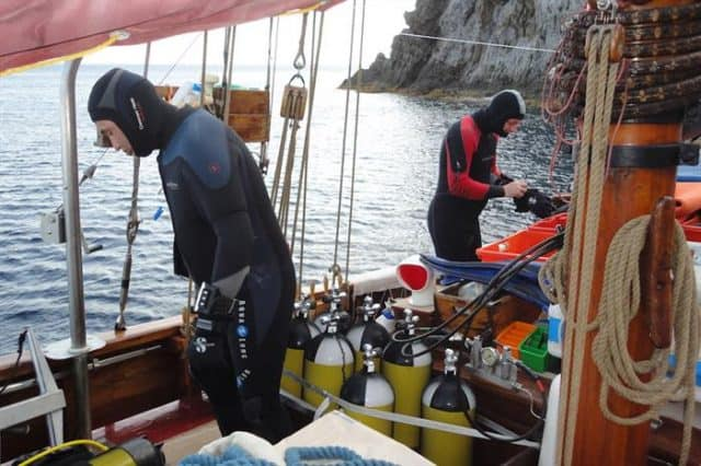 Preparing to Dive From The Norseman Liveaboard in Italy.