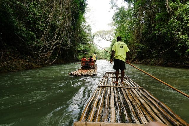 Rafting down Martha Brae River, Montego Bay, Jamaica by Barney Bishop